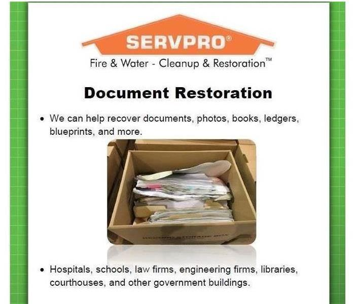 Water Damage SERVPRO - Specializes in Document Drying