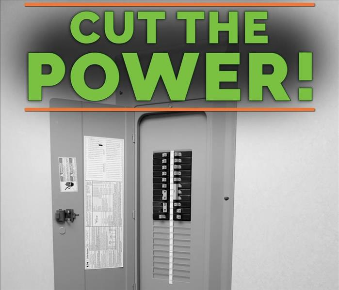 Breaker box with the word CUT THE POWER!
